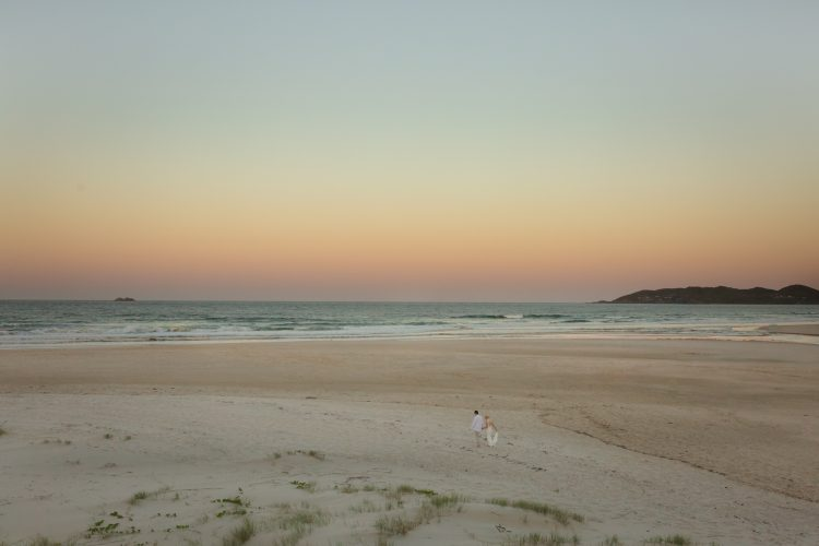 Byron Bay Wedding Photographer Lady Bella Photography Sunset on the beach bride and groom